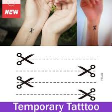 1 sheet scissor dotted line waterproof stickers temporary tattoo