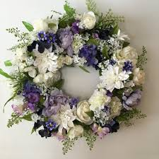 Wedding Flowers Blue Mother U0027s Day Wreath Spring Wreath With Purple And White Flowers
