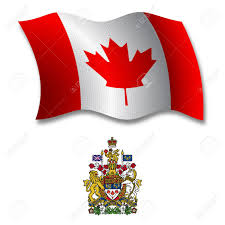 canada shadowed textured wavy flag and coat of arms against white