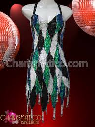 white black and green patchwork sequin flame hemmed dance dress