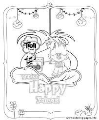 trolls movie 2016 spring happy friend coloring pages printable