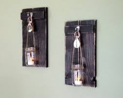 Jar Candle Wall Sconce Rustic Wall Decor Wooden Candle Holder Rustic Mason Jar