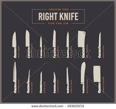 big set kitchen knives names vector stock vector 493820221