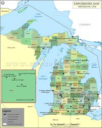 Michigan County Map With Cities by Map Of Universities And Colleges In Michigan