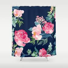 Pink And Navy Curtains Navy And Pink Watercolor Peony Shower Curtain By