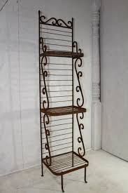 Bakers Rack Shelves Wrought Iron Narrow Bakers Rack