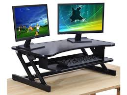 sit stand computer desk standing desk the deskriser height adjustable sit stand up dual