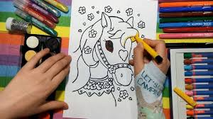 learn to color for kids and color this princess horse coloring