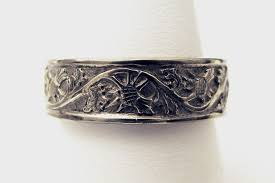 carved bridal carved thistle men s wedding band rosestone jewelry