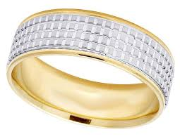 comfort fit ring unisex 14k two tone gold comfort fit square pattern wedding band