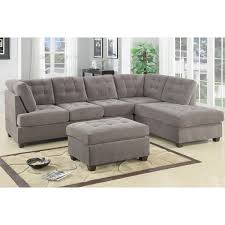 Overstock Sectional Sofas Odessa Waffle Suede Reversible Sectional Sofa With Ottoman Free