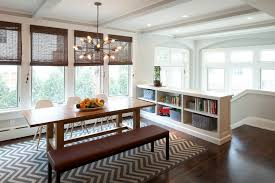 bookcase lighting fixture dining room transitional with built in