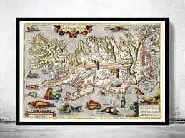 Viking Map Old Map Of Iceland Islandia 1542 Island Sea Monsters