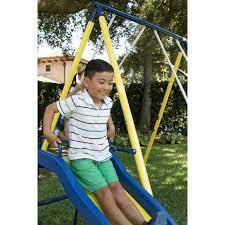 Flexible Flyer Backyard Swingin Fun Metal Swing Set Swing Set Playground Metal Swingset Outdoor Play Slide Kids