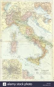 Palermo Italy Map by Italy Venice Naples Messina Rome Palermo 1905 Antique Map