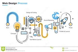 concept design definition flat line design concept for graphic design workflow process stock