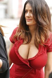 salma u0027s look amazing in that red dress that cleavage is