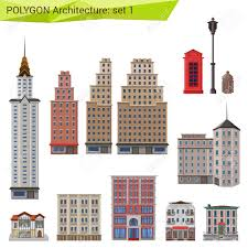 polygonal style skyscrapers and buildings set city design