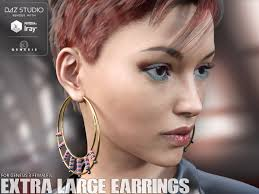 large earrings large earrings for genesis 3 s 3d figure assets lilflame