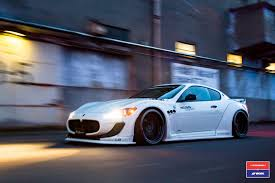 bugatti gold and white liberty walk maserati granturismo in white gets custom stance and