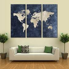bigwallprints com beautiful unique wall decals and murals world map on navy canvas