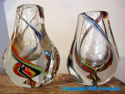 Italian Glass Vases Murano Art Glass Vase Pair Italian 20th Century Colored Swirls