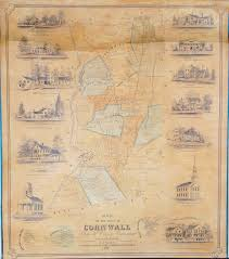 Paper Town Map The First Printed Map Of Cornwall Conn Rare U0026 Antique Maps