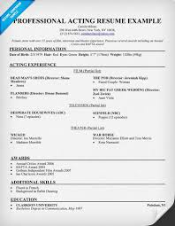 Samples Of A Professional Resume by Acting Resume Sample U0026 Writing Tips Resume Companion