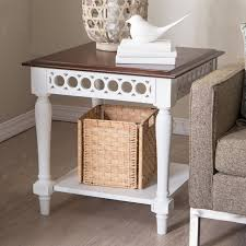 Sofa End Table by Belham Living Jocelyn Console Table White Walnut Hayneedle