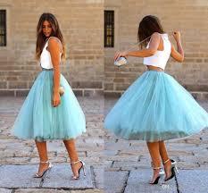 2017 tutu tulle skirts knee length tiered puffy elastic waist