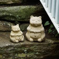 zen cat garden sculpture zen garden praying sculpture
