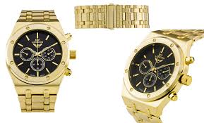 gold bracelet mens watches images Ny london blue steel mens watch gold bracelet black dial jpg