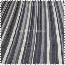 Velvet Chenille Upholstery Fabric Rail Road Stripes Black Grey Colour Soft Raised Velvet Feel