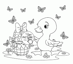 happy duck easter coloring page for kids coloring pages