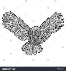 owl flying black white drawing vectorized stock vector 127695089