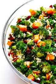 autumn kale salad with sweet potatoes broccoli and brown rice