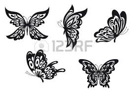 black and white butterflies set royalty free cliparts