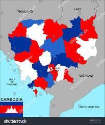Map Of Cambodia Big Size Political Map Cambodia Flag Stock Illustration 94372036