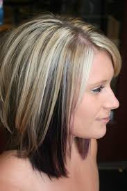 shoulder length hair with layers at bottom highlights with color blocked black and purple underneath cute