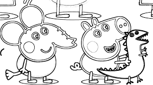 pepa pig goes to dinosaur zoo coloring book draw for kids fun