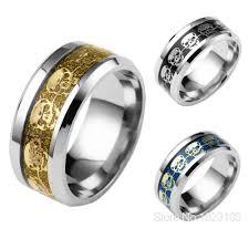 mens skull wedding rings never fade stainless steel skull ring gold filled blue black