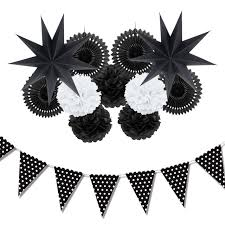white paper fans 12pc black white paper decoration set party decor paper fans
