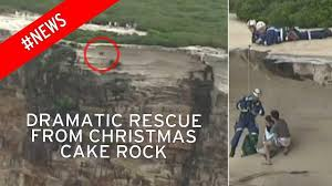 wedding cake rock wedding cake rock rescue footage shows dramatic moment men were
