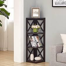 Espresso Corner Bookcase Espresso Finish 4 Tier Corner Bookshelf With X Design