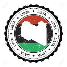 Flag Of Libya Libya Map And Flag In Vintage Rubber Stamp Of State Colours