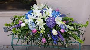 casket spray feeling blue casket spray in burbank ca samuel s florist