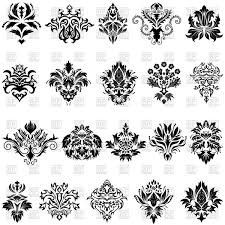 abstract damask ornaments set vector clipart image 89166
