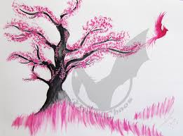 birds in the cherry blossom tree by moralchaos on deviantart