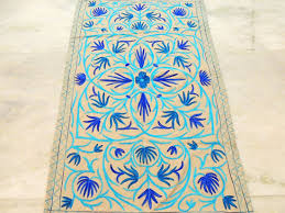 Wool Indian Rugs Blue Kashmir Custom Handmade Rugs Embroidered Wool Floor Discovered