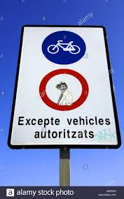 red white bicycles sign blue sticker art graffiti excepte vehicles